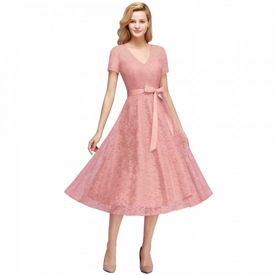 BMbridal V-neck Short Sleeves Lace Dress with Bow Sash_1