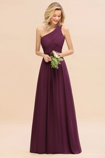 Chic One Shoulder Ruffle Grape Chiffon Bridesmaid Dresses Online_51