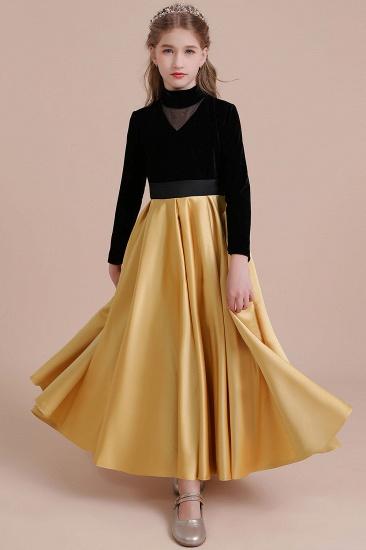 BMbridal A-Line High-neck Velvet Satin Flower Girl Dress Online_4