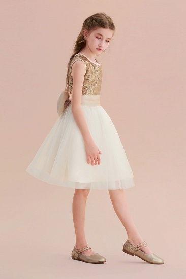 BMbridal A-Line Sequins Tulle Bow Flower Girl Dress On Sale_6