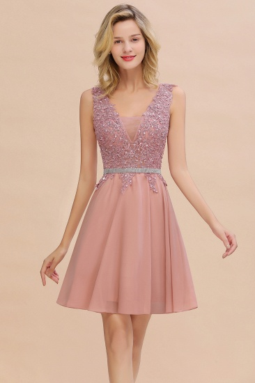 BMbridal Lovely Sleeveless Short Prom Dress Mini Homecoming Dress With Appliques_1
