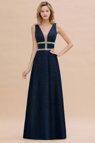 Shinning V-Neck Sleeveless Long Prom Dress Online With Zipper Back_2