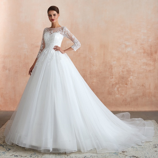BMbridal Affordable Lace Jewel White Tulle Wedding Dresses with 3/4 Sleeves_4