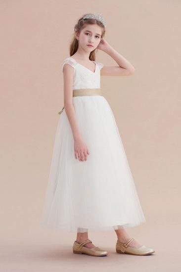 BMbridal A-Line Cap Sleeve Sweetheart Tulle Flower Girl Dress Online_6