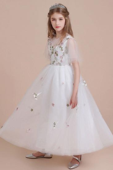 BMbridal A-Line Short Sleeve Embroidered Tulle Flower Girl Dress On Sale_7