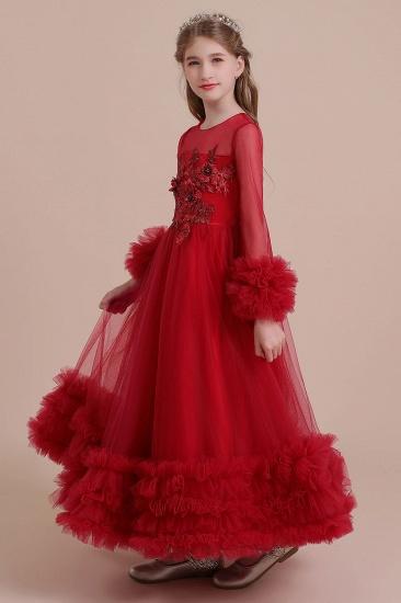 BMbridal A-Line Long Sleeve Applique Tulle Flower Girl Dress On Sale_7