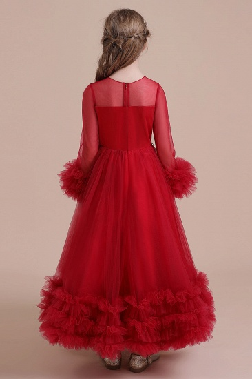 BMbridal A-Line Long Sleeve Applique Tulle Flower Girl Dress On Sale_3