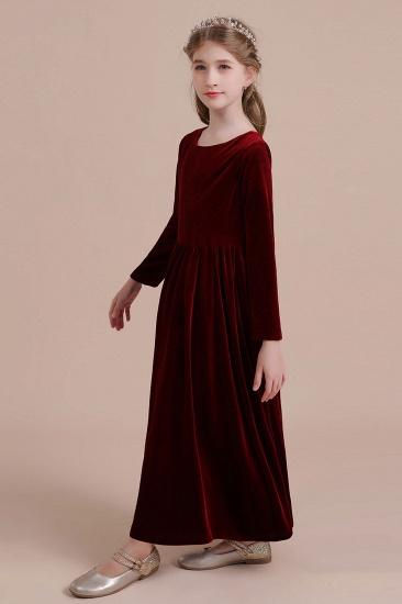 BMbridal A-Line Long Sleeve Velvet Flower Girl Dress On Sale_6