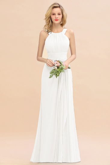 BMbridal Elegant Round Neck Sleeveless Stormy Bridesmaid Dress with Ruffles_2