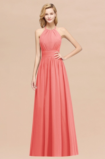 Elegant High-Neck Halter Long Affordable Bridesmaid Dresses with Ruffles_7