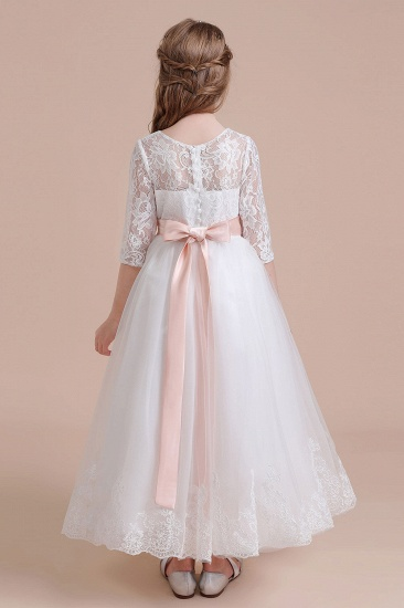 BMbridal A-Line Illusion Lace Tulle Ankle Length Flower Girl Dress On Sale_3