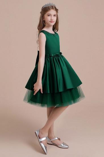 BMbridal A-Line Bow Beading Satin Tulle Flower Girl Dress On Sale_4