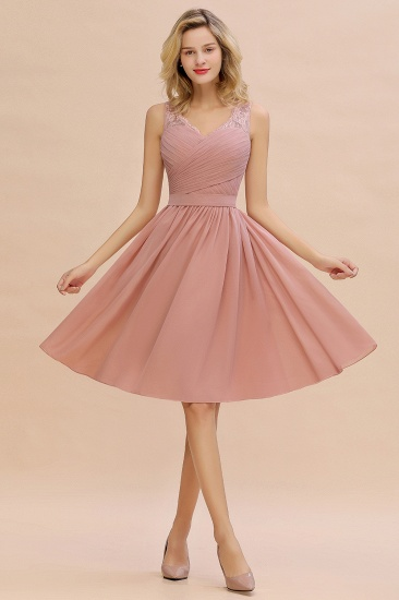 Affordable V-Neck Sleeveless Ruffles Short Lace Bridesmaid dresses Online_4