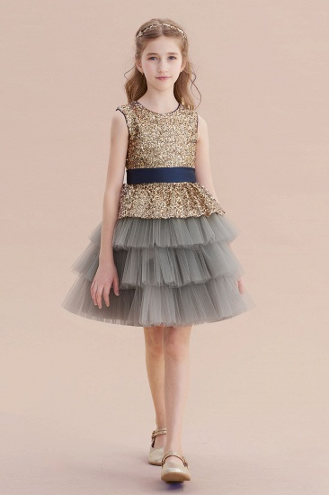 BMbridal A-Line Sequins Tulle Knee Length Flower Girl Dress On Sale_6