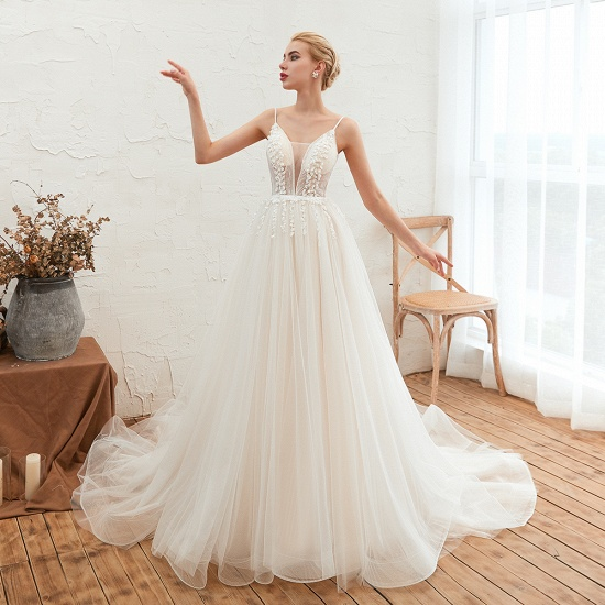 Chic Spaghetti Straps V-Neck Ivory Tulle Wedding Dresses with Appliques_8