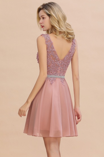 BMbridal Lovely Sleeveless Short Prom Dress Mini Homecoming Dress With Appliques_5