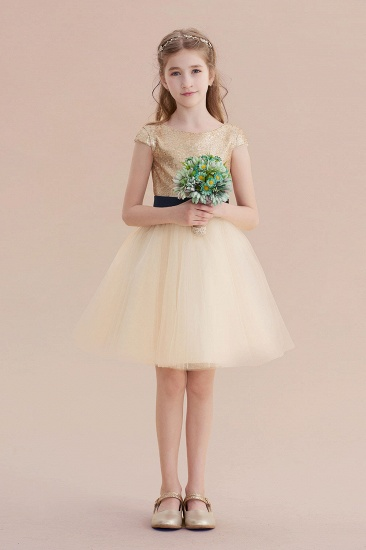BMbridal A-Line Sequins Tulle Cap Sleeve Flower Girl Dress Online_4