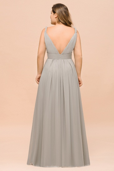 BMbridal Plus Size Chiffon V-neck Sleeveless Affordable Bridesmaid Dress with Ruffle_3