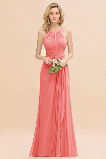 Elegant Round Neck Sleeveless Stormy Bridesmaid Dress with Ruffles_7