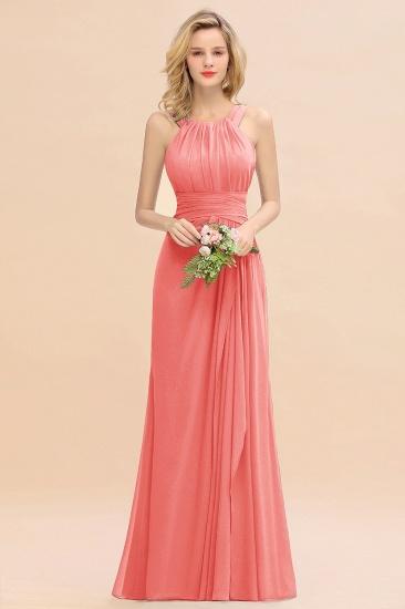 BMbridal Elegant Round Neck Sleeveless Stormy Bridesmaid Dress with Ruffles_7