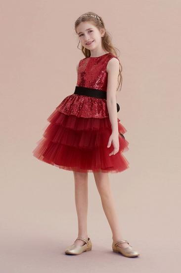 BMbridal A-Line Tulle Sequins Knee Length Flower Girl Dress Online_5