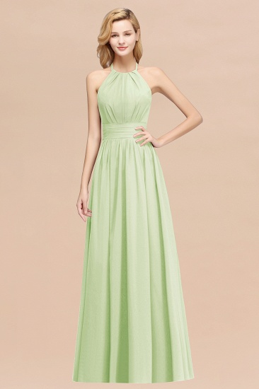 Elegant High-Neck Halter Long Affordable Bridesmaid Dresses with Ruffles_35
