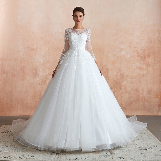 Affordable Lace Jewel White Tulle Wedding Dresses with 3/4 Sleeves_5