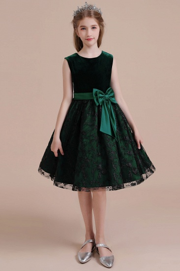 BMbridal A-Line Lace Velvet Knee Length Flower Girl Dress Online