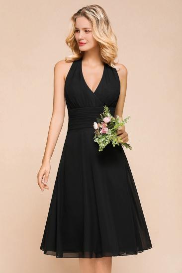 BMbridal Affordable Halter V-Neck Black Short Bridesmaid Dresses Online_6