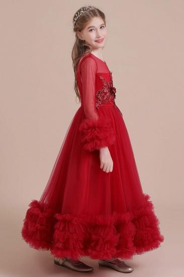 BMbridal A-Line Long Sleeve Applique Tulle Flower Girl Dress On Sale_8