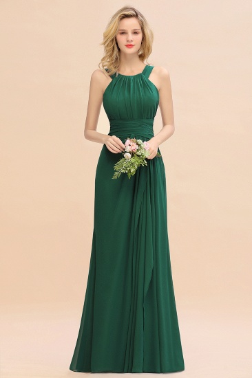 Elegant Round Neck Sleeveless Stormy Bridesmaid Dress with Ruffles_31