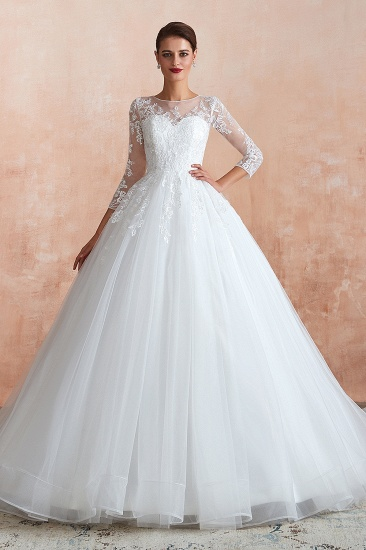 Affordable Lace Jewel White Tulle Wedding Dresses with 3/4 Sleeves