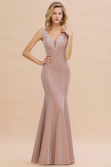 BMbridal Dusty Pink Shinning Long Prom Dress Mermaid With Appliques_11