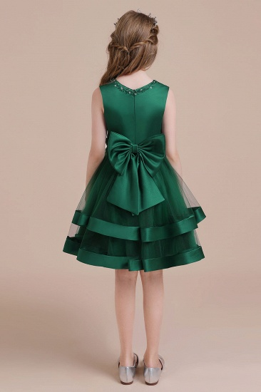 BMbridal A-Line Bow Satin Layered Tulle Flower Girl Dress Online_3