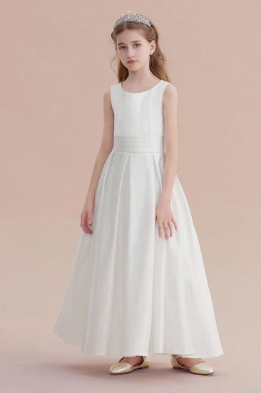 BMbridal A-Line Simple Satin Flower Girl Dress On Sale_1