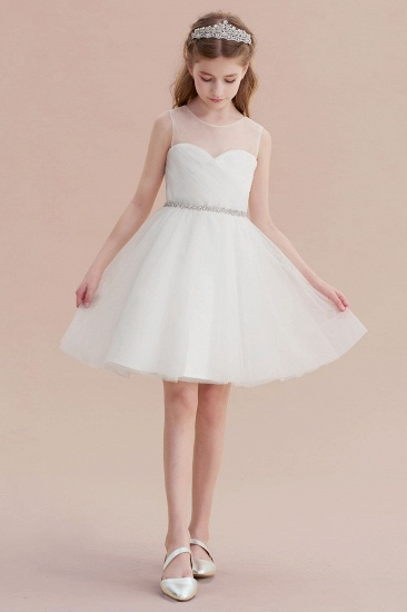 BMbridal A-Line Illusion Knee Length Tulle Flower Girl Dress Online_4