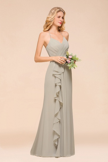 Affordable Halter V-Neck Ruffle Silver Chiffon Bridesmaid Dress Online_6