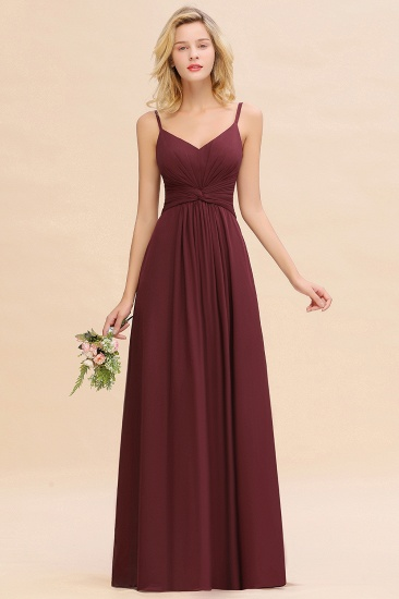 Modest Ruffle Spaghetti Straps Backless Burgundy Bridesmaid Dresses Cheap_54