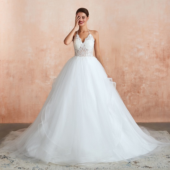Exquisite Lace Halter Ball Gown White Wedding Dress with Open Back_4