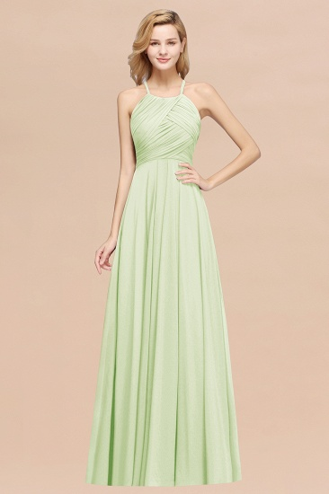 Halter Crisscross Pleated Bridesmaid Dress Blue Chiffon Sleeveless Maid of Honor Dress_35