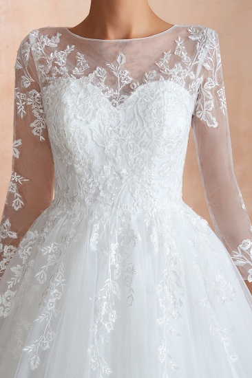 Affordable Lace Jewel White Tulle Wedding Dresses with 3/4 Sleeves_12