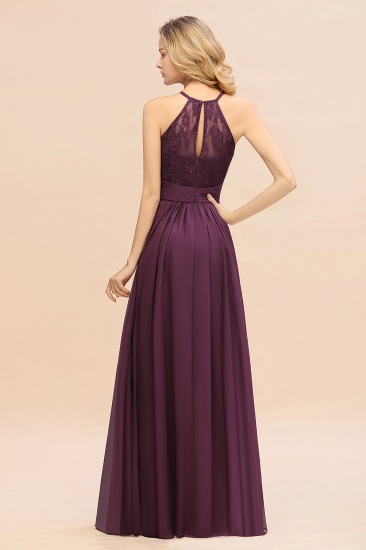 Elegant Halter Ruffles Sleeveless Grape Lace Bridesmaid Dresses Cheap_52