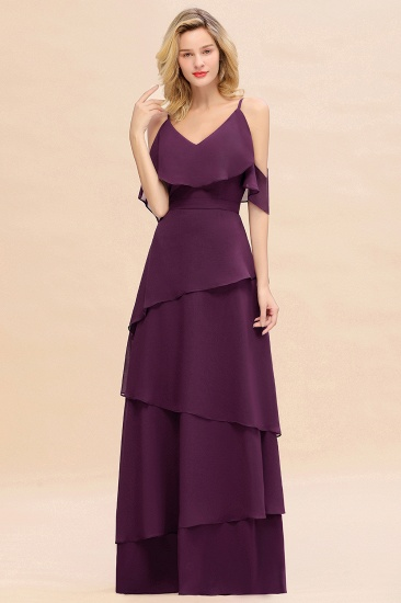 BMbridal Chic Cold-Shoulder Layers Grape Chiffon Bridesmaid Dress Affordable_4