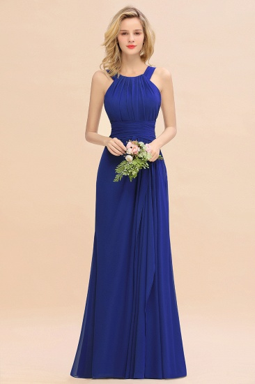 Elegant Round Neck Sleeveless Stormy Bridesmaid Dress with Ruffles_26