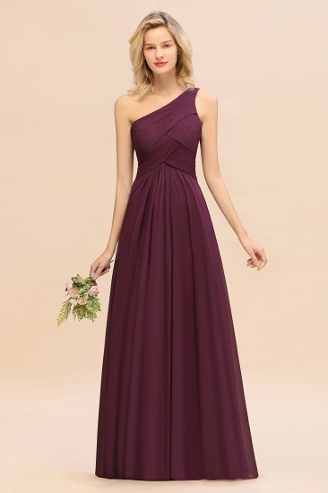 Chic One Shoulder Ruffle Grape Chiffon Bridesmaid Dresses Online_54