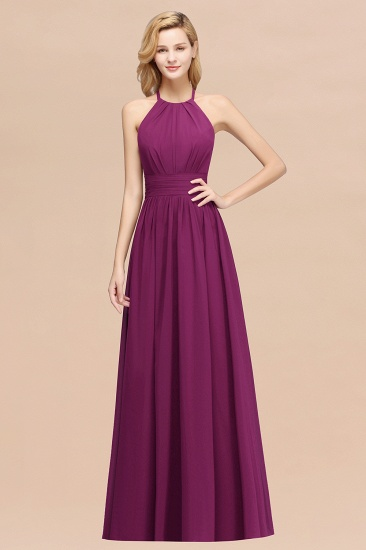 Elegant High-Neck Halter Long Affordable Bridesmaid Dresses with Ruffles_42