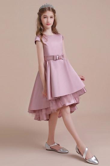BMbridal A-Line Cap Sleeve Satin High-low Flower Girl Dress Online_6