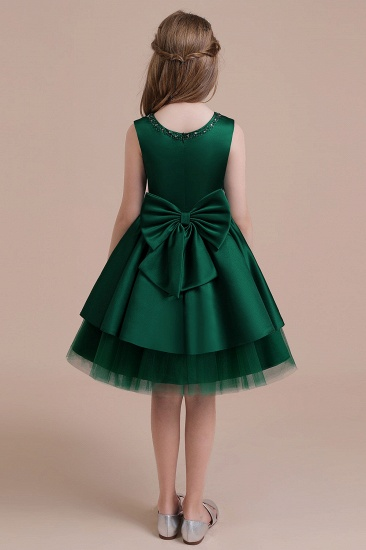 BMbridal A-Line Bow Beading Satin Tulle Flower Girl Dress On Sale_3