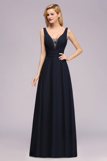Modest Chiffon V-Neck Long Bridesmaid Dress Online with Beadings_4