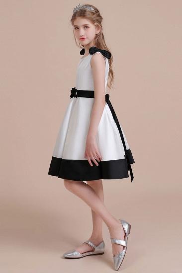 BMbridal A-Line Latest Satin Knee Length Flower Girl Dress Online_4